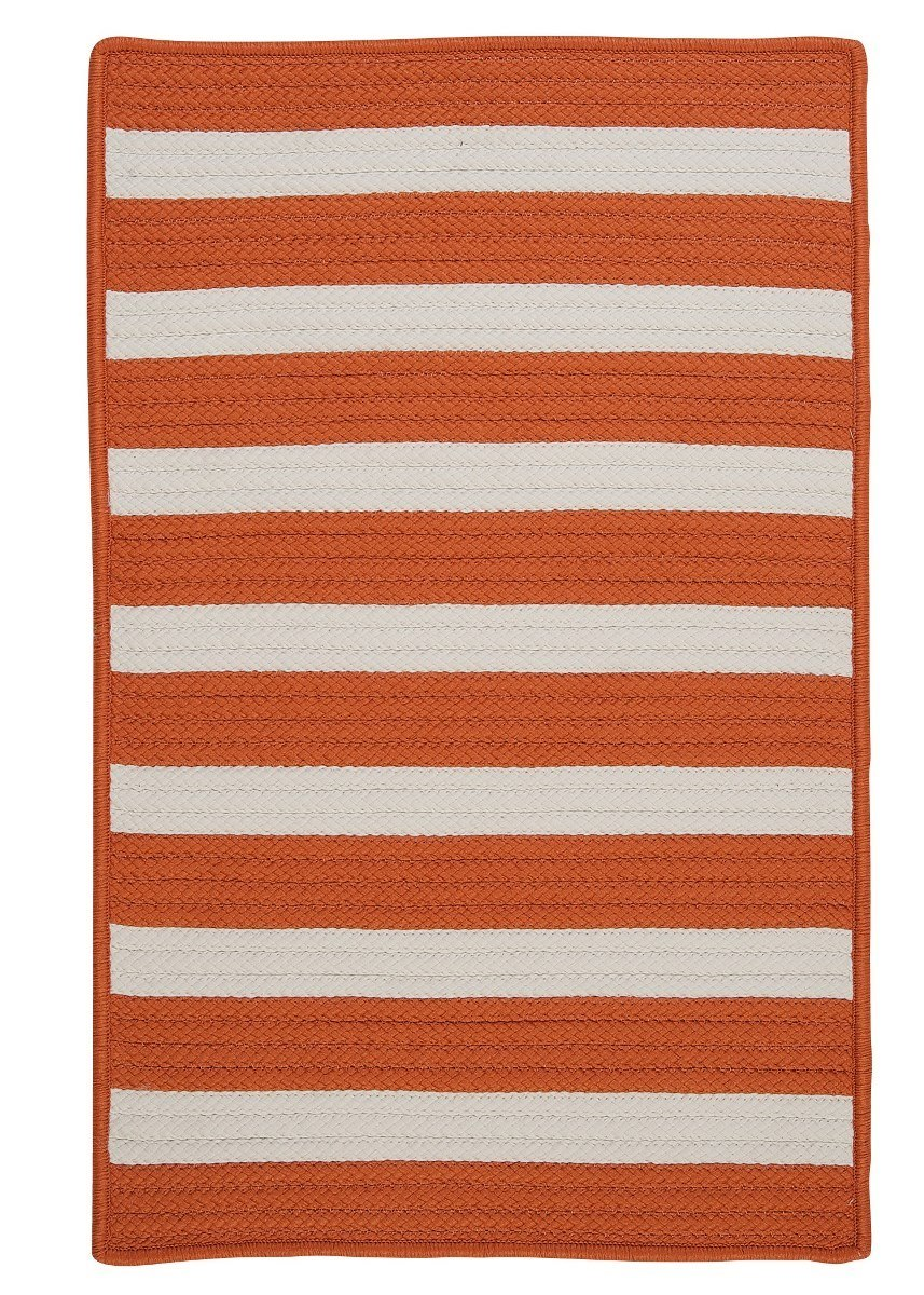 Stripe It Tangerine Outdoor Braided Rectangular Rugs