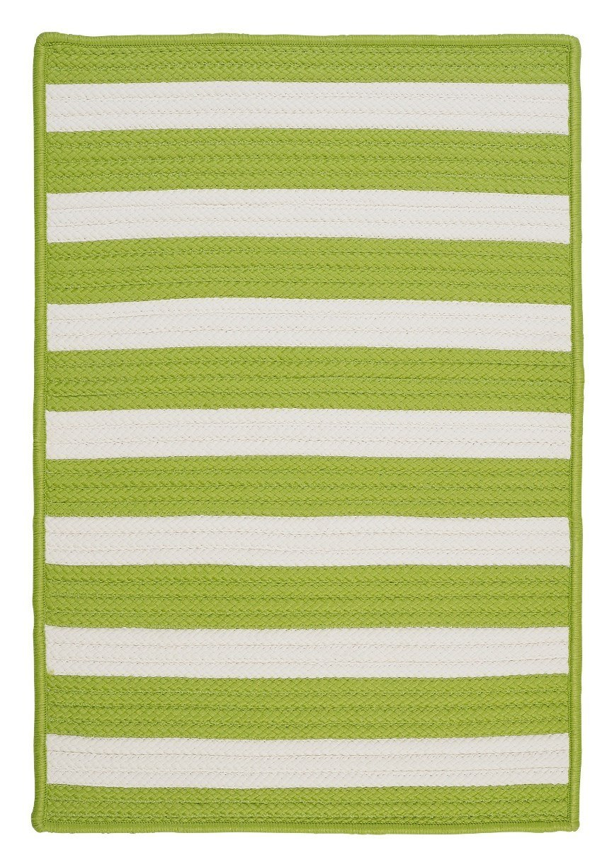 Stripe It Bright Lime Outdoor Braided Rectangular Rugs