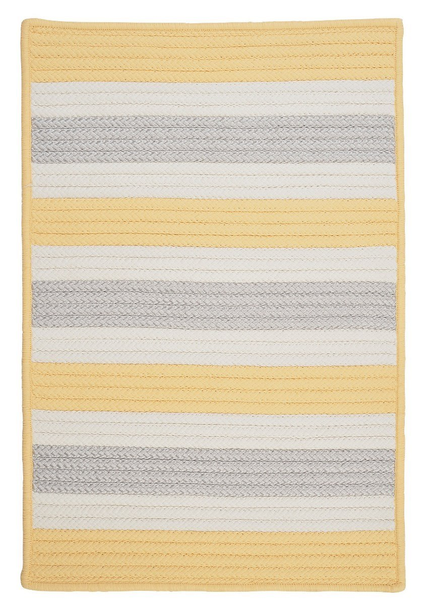 Stripe It Yellow Shimmer Outdoor Braided Rectangular Rugs