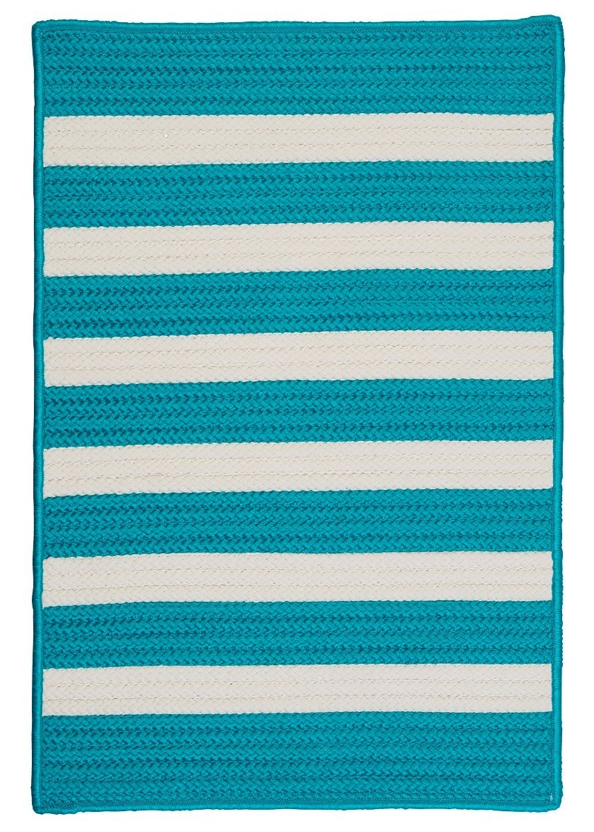 Stripe It Turquoise Outdoor Braided Rectangular Rugs