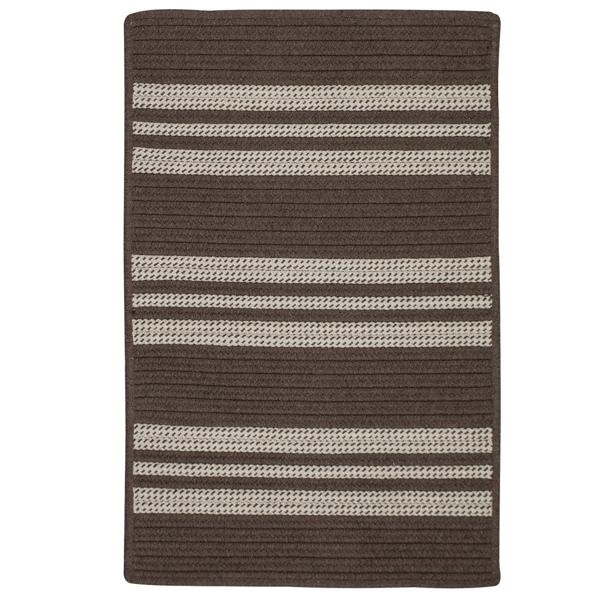 Sunbrella Southport Stripe Mink Outdoor Braided Rectangular Rugs