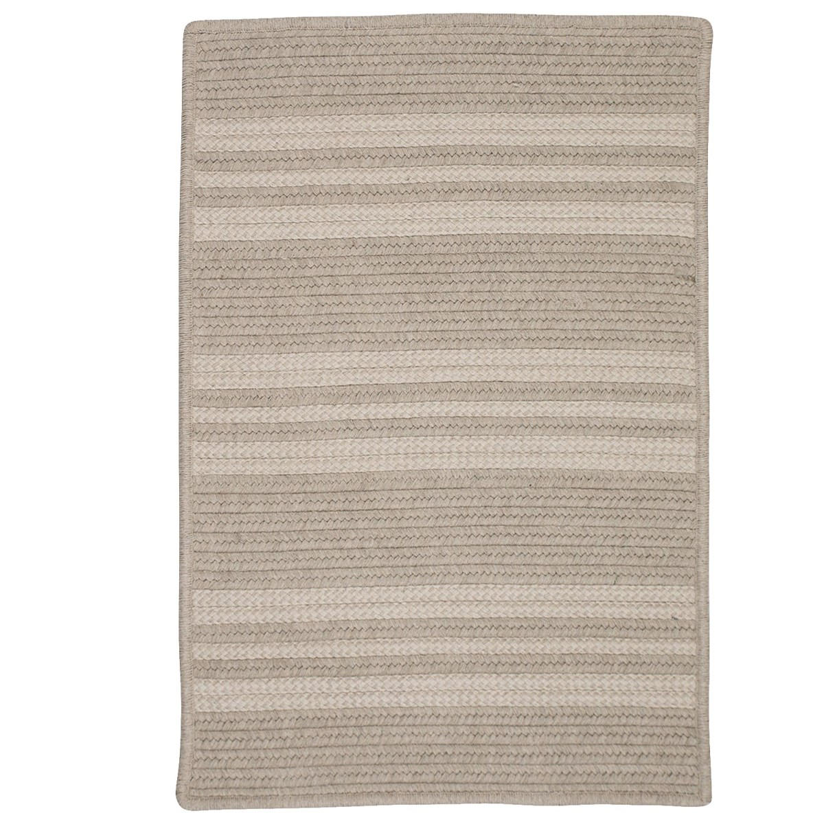 Sunbrella Southport Stripe Ash Outdoor Braided Rectangular Rugs