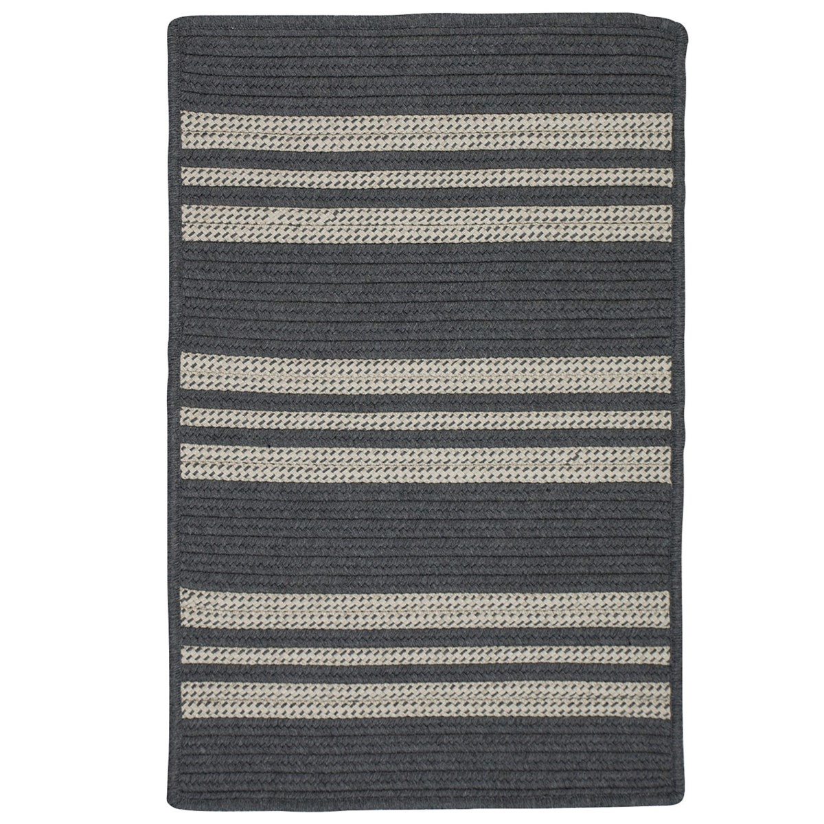 Sunbrella Southport Stripe Granite Outdoor Braided Rectangular Rugs
