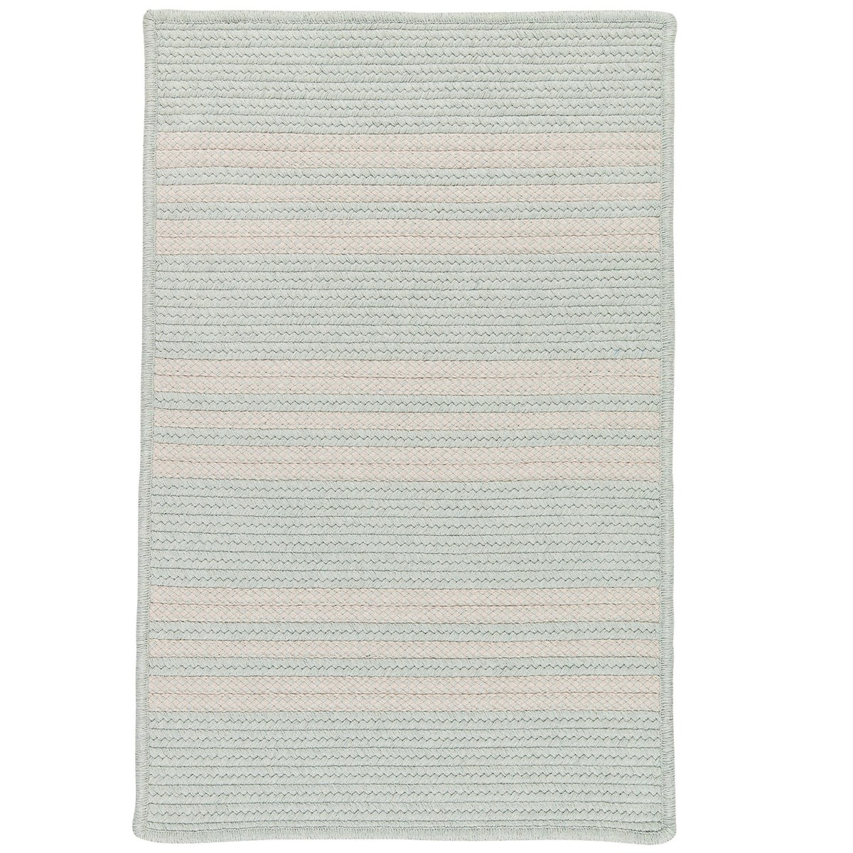 Sunbrella Southport Stripe Sea Outdoor Braided Rectangular Rugs