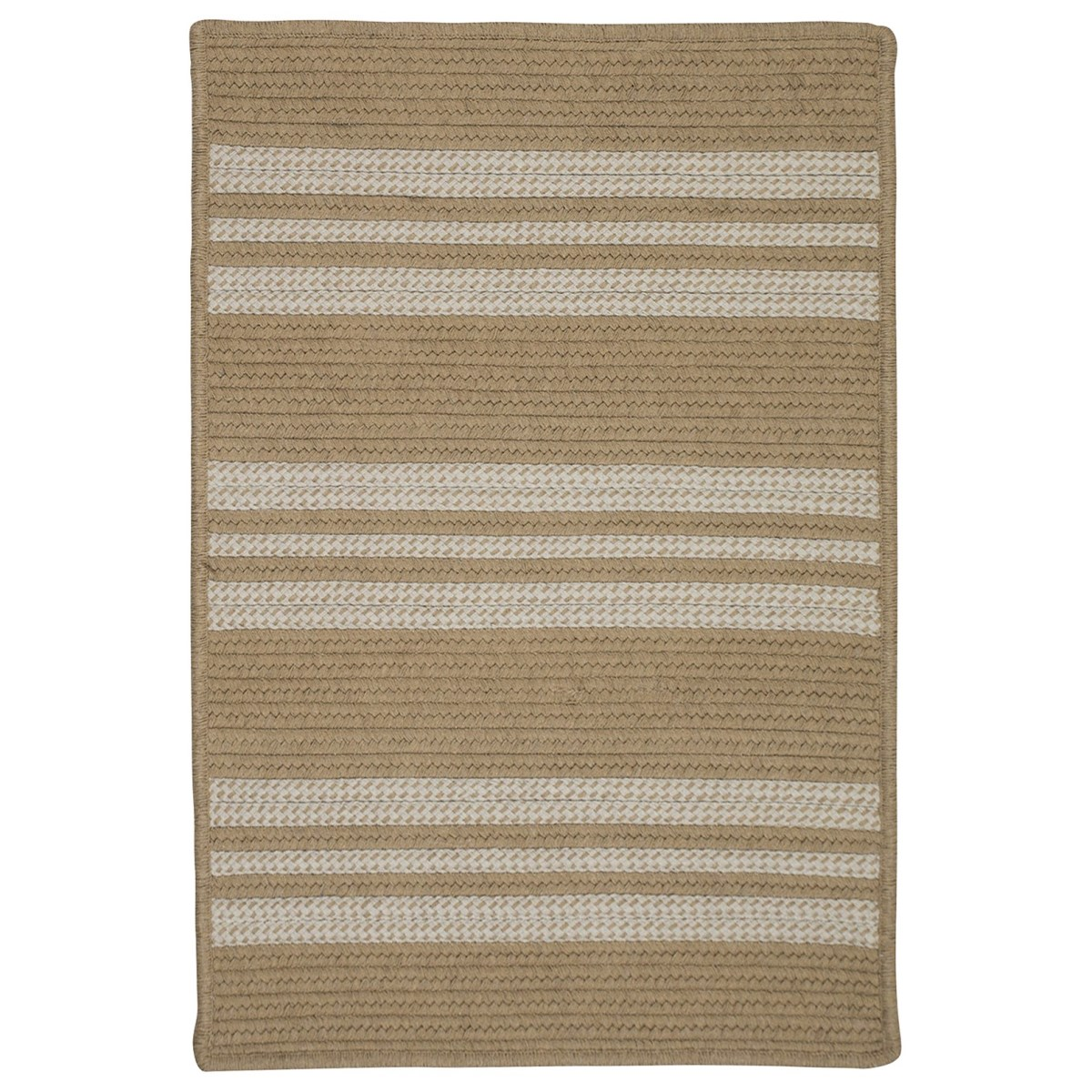Sunbrella Southport Stripe Wheat Outdoor Braided Rectangular Rugs