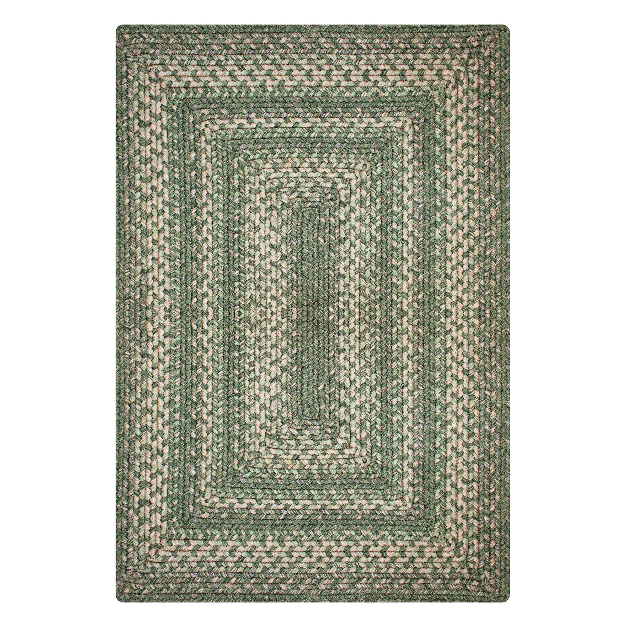 Hillside Green Ultra Durable Braided Rectangular Rugs