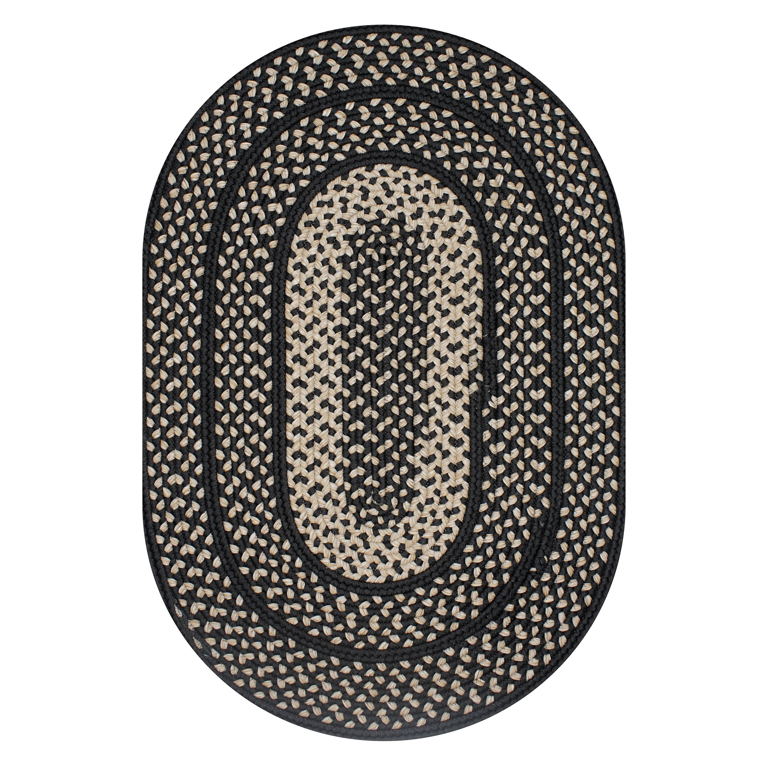Iron Ridge Black Ultra Durable Braided Oval Rugs