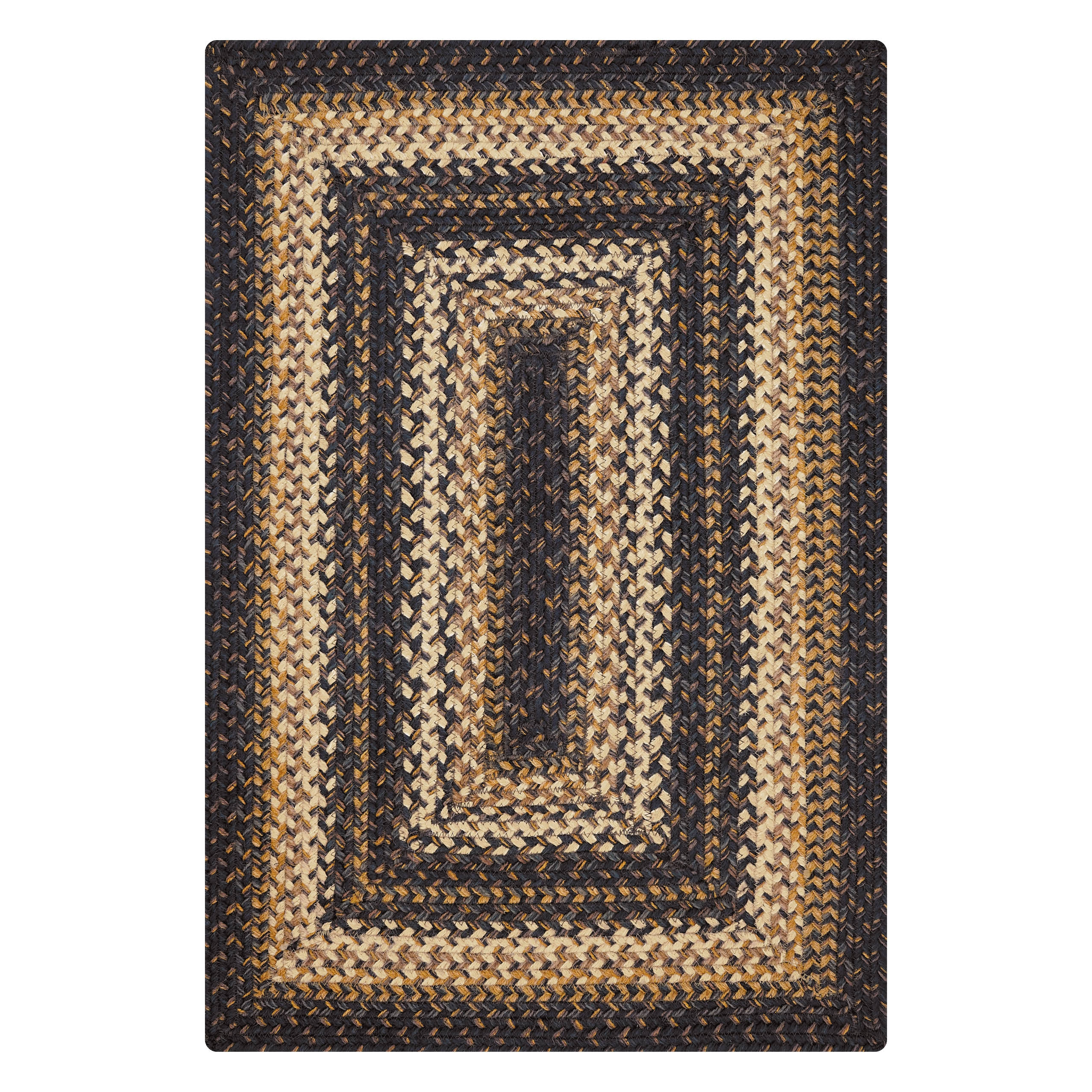 Kilimanjaro Black - Cream Jute Braided Rectangular Rugs